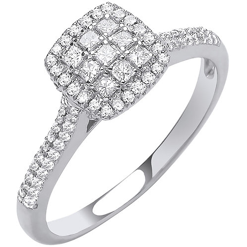 18ct White Gold Square Halo Style 0.50ct Diamond Ring
