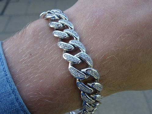 Silver CZ Curb Bracelet