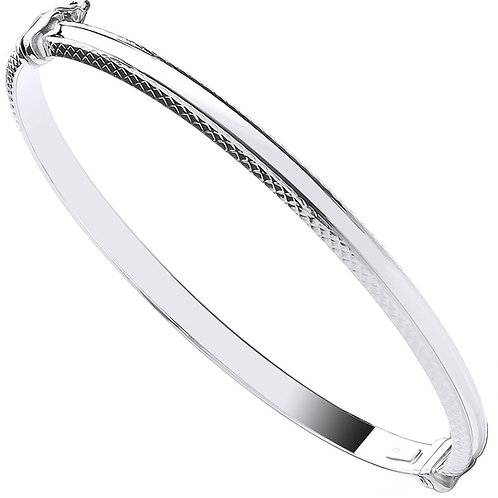 9ct White Gold Pattern Edge Ladies Bangle BN0435