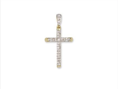 9ct Round Tube CZ Cross