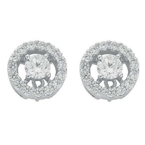 Silver Fancy Cluster Round Cz Stud Earrings