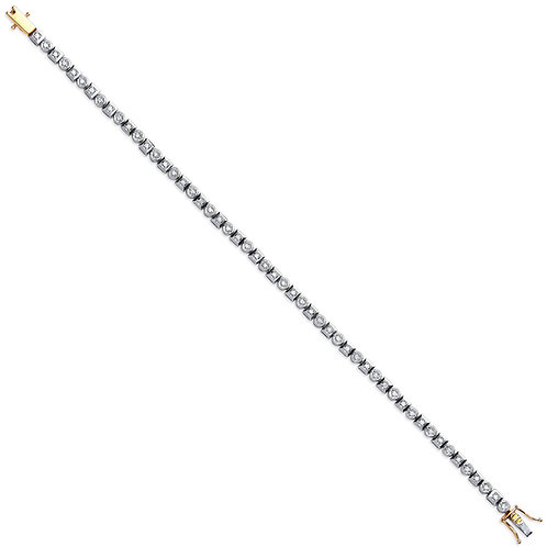 9ct Yellow Gold 0.50ct Rub Over Diamond Tennis Bracelet
