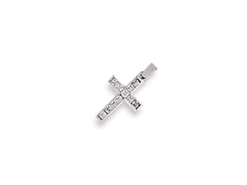 9ct W/G Princess Cut CZ Cross