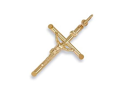 9ct Round Tube Crucifix