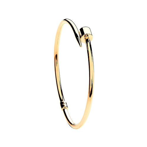 9ct Yellow Gold Hollow Nail Bangle BN0427