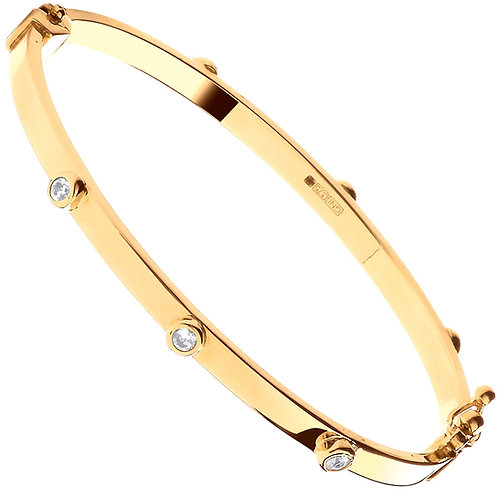9ct Yellow Gold Hollow Oval CZ Baby Bangle BN0443