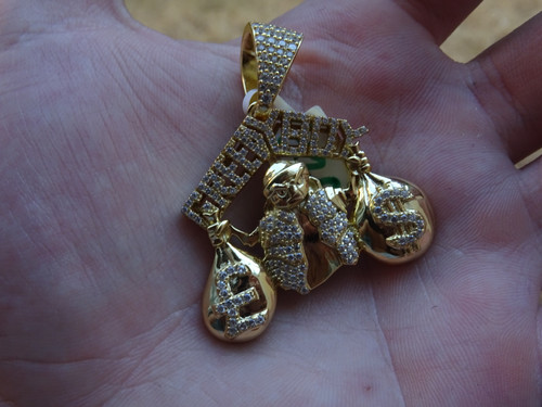 7b174a9c72d3e Silver Gold Plated CZ 'Greedy Boy' Pendant