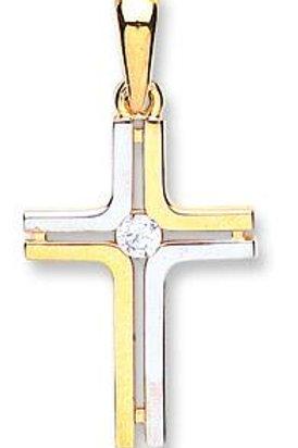 9ct Y/G & W/G CZ Fancy Cross