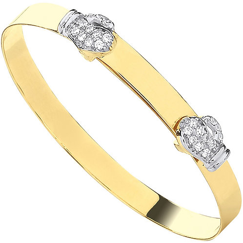 9ct Yellow Gold CZ Boxing Glove Expandable Baby Bangle BN0455