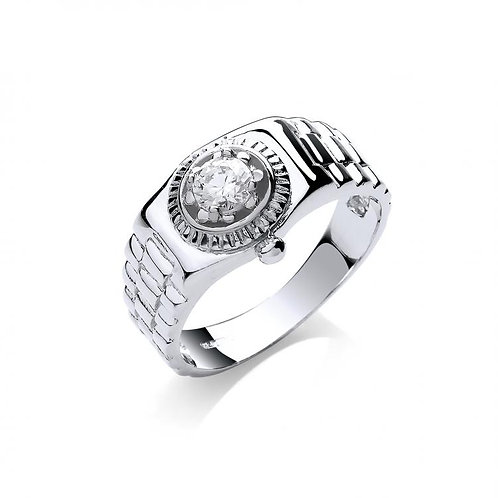 9ct WG CZ Mens Ring