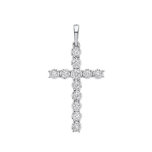 9ct White Gold 0.27ct Diamond Cross