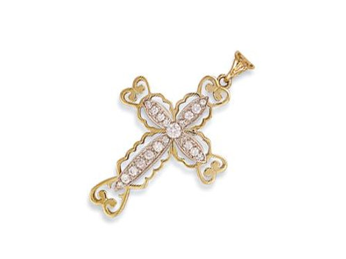 9ct Fancy Pave Set CZ Cross