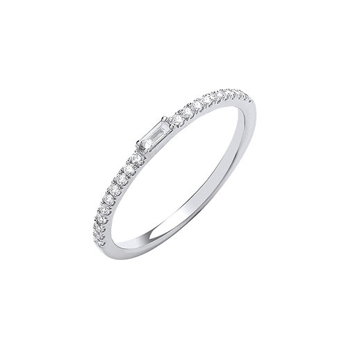 9ct White Gold Round & Baguette Cut Diamond Eternity Ring