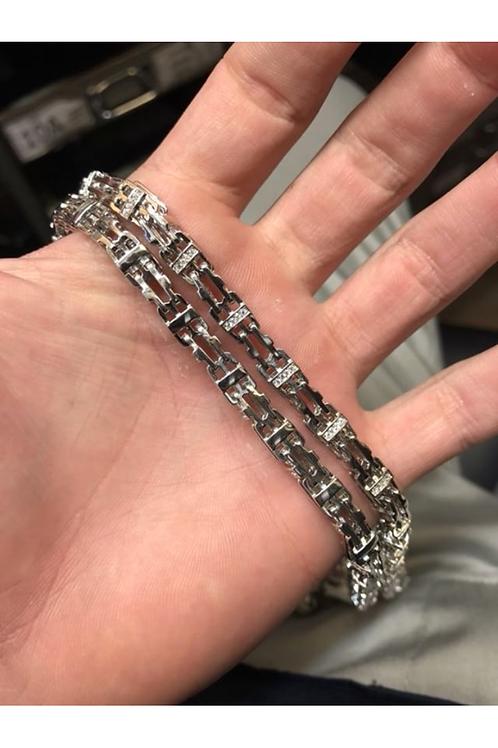 Silver CZ Cage Chain