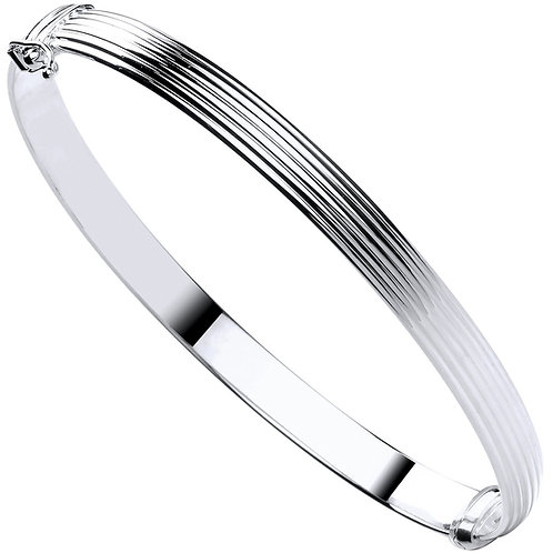 9ct White Gold Hollow Ribbed Ladies Bangle BN0441