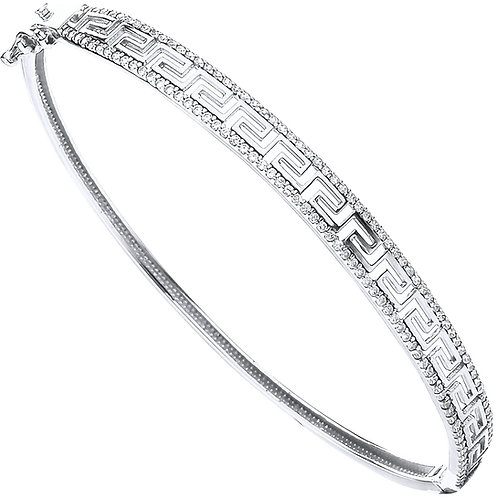 9ct White Gold CZ Greek Key Ladies Bangle BN0457