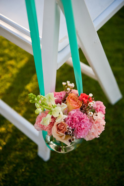 Hanging stanchion bouquets...