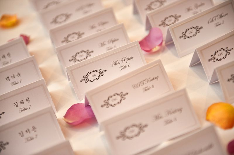 Cat and Chris - Escort Cards