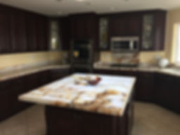 stained kitchen cabinets and countertop escondido california