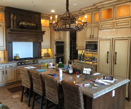 french country glazed and antiqued cabinets rancho santa fe california
