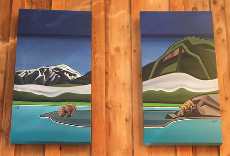 Marie-Christine Claveau painting of grizzly bears.