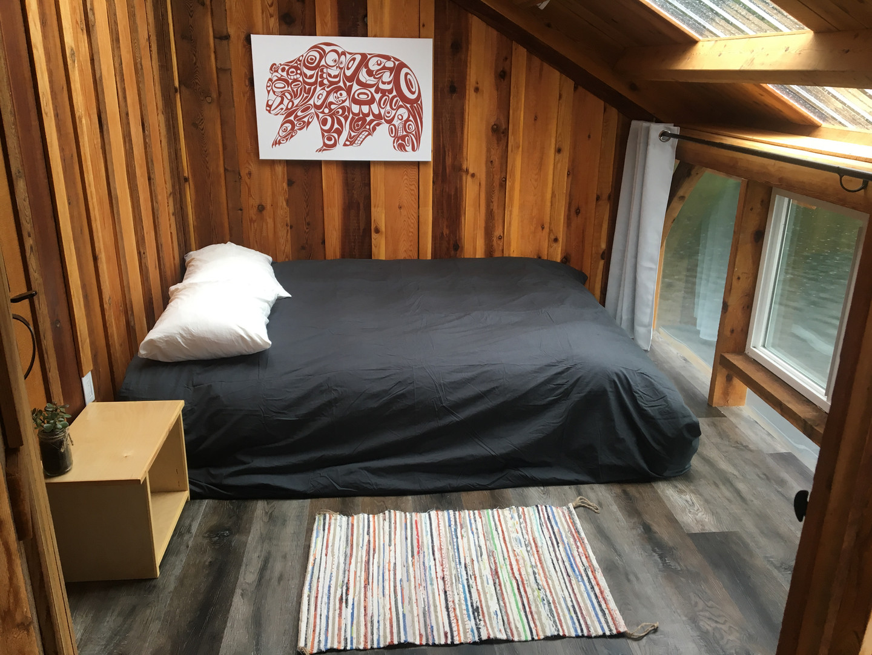 Merganser bedroom at Khutzeymateen Wilderness Lodge.