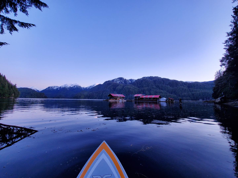 Khutzeymateen Wilderness Lodge at dusk.