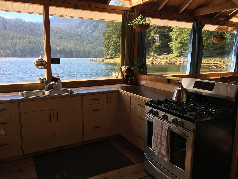 The kitchen at Khutzeymateen Wilderness Lodge.