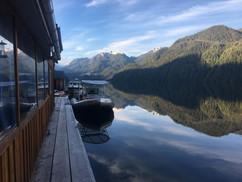 Calm morning at Khutzeymateen Wilderness Lodge.