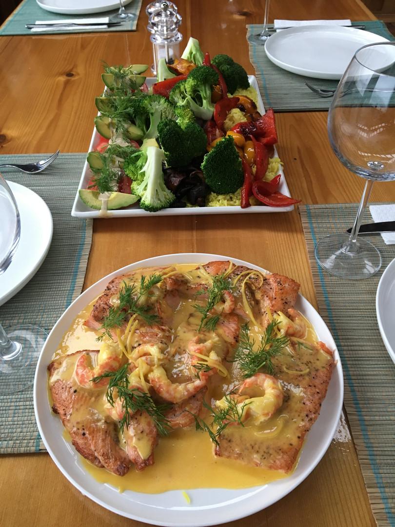 Feast at Khutzeymateen Wilderness Lodge.