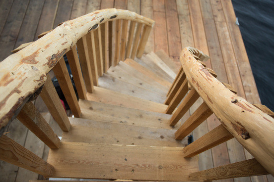 One of our rustic staircases at Khutzeymateen Wilderness Lodge.