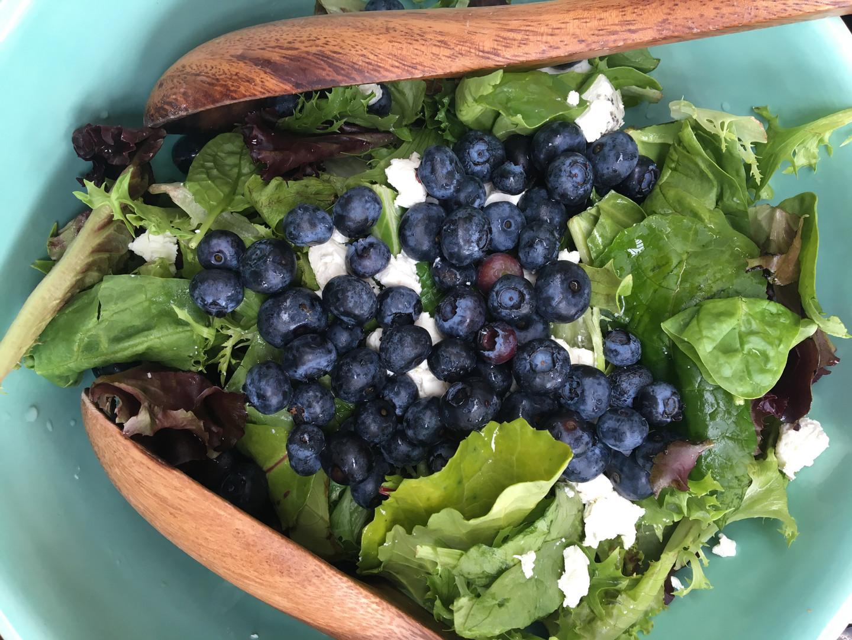 Blueberry salad at Khutzeymateen Wilderness Lodge.