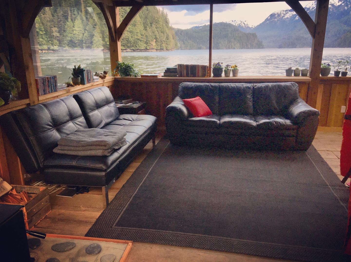 The Khutzeymateen Wilderness Lodge living room.