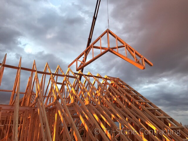 Standing trusses in The County sunset