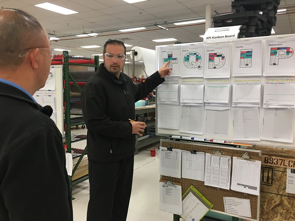 Daniel Carr going over Gemba metrics with his production team.