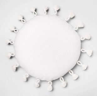 Round white tassel pillow