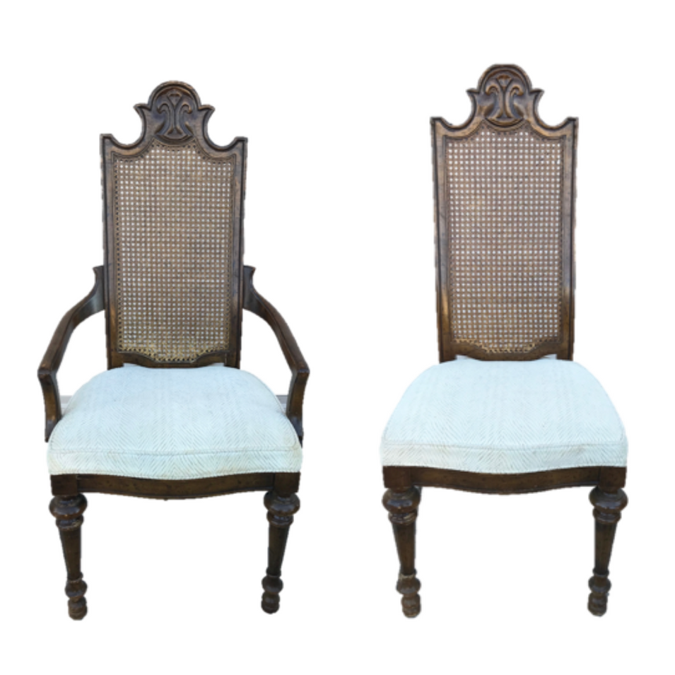 Vintage Caned Dining Chairs