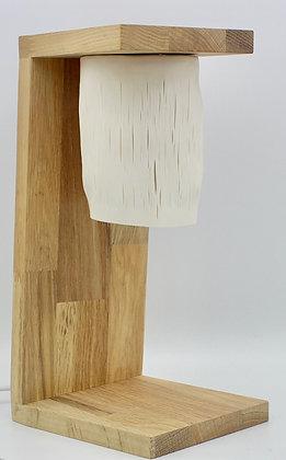 Lampe à poser en porcelaine et chêne