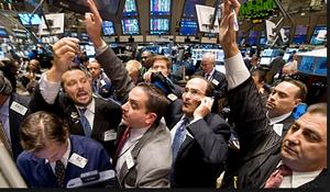 Stock market floor mayhem