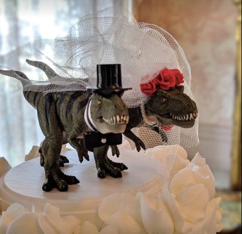 Tyrannosaurus Rex wedding cake topper