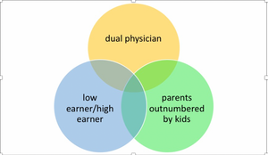 Venn diagram: dual physician, low earner/high earner, parents outnumbered by kids