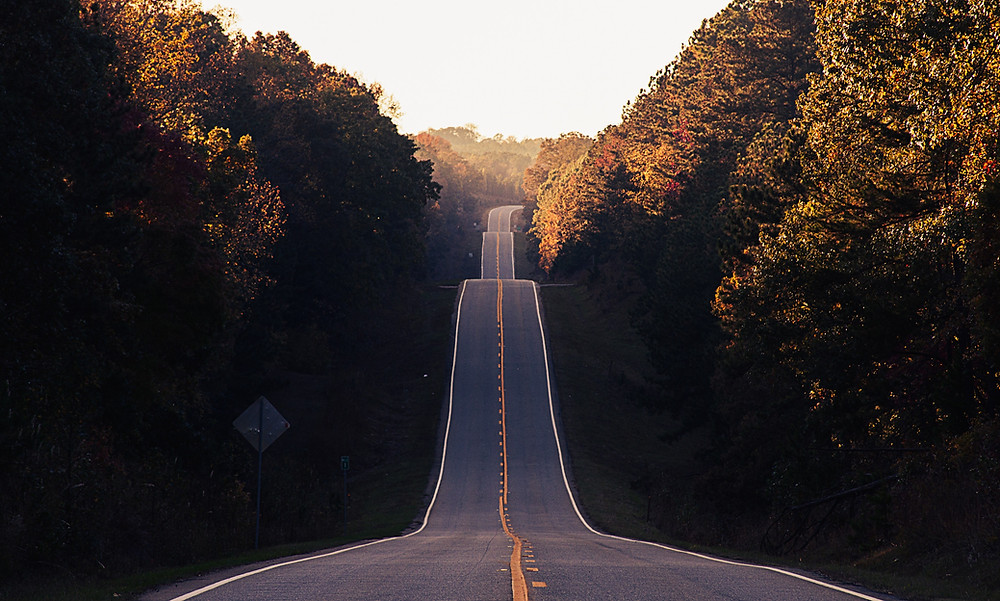 a long, hilly road
