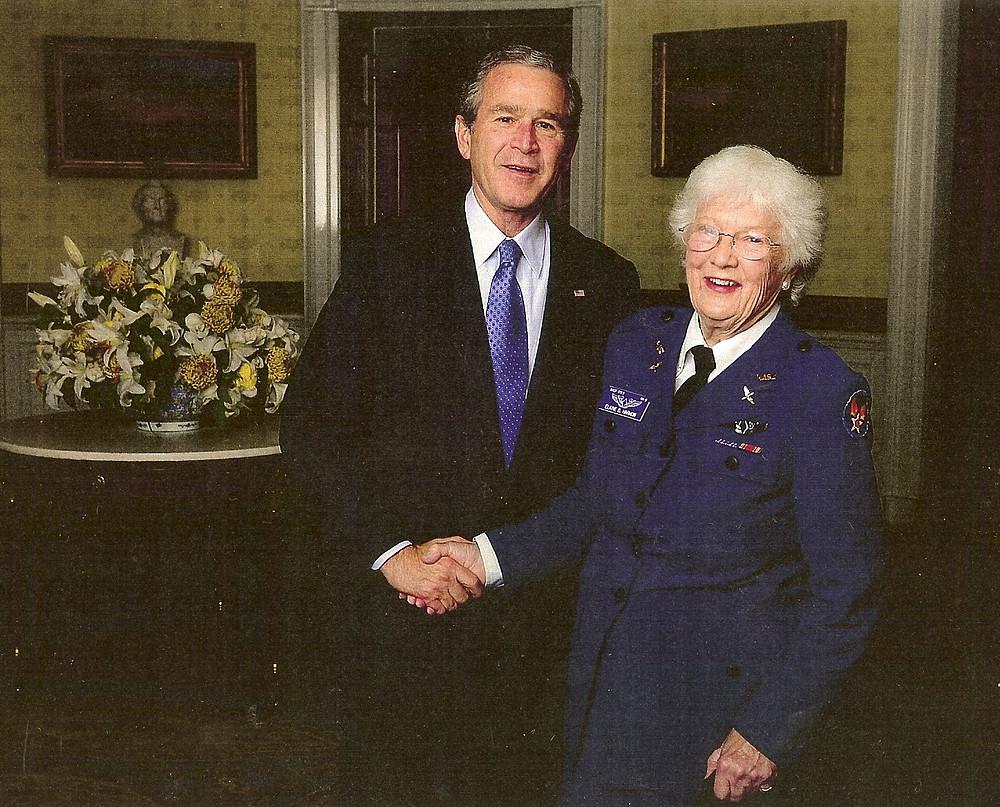 Elaine Harmon with President George W. Bush, 2007