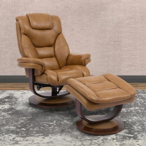 Monarch Butterscotch Manual Reclining Swivel Chair and Ottoman