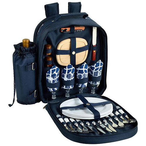 Navy/White Picnic Backpack Four Person