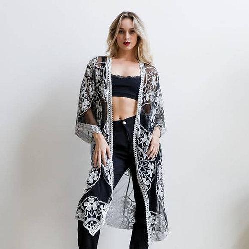 Black Contrast Mesh Cotton Lace Kimono