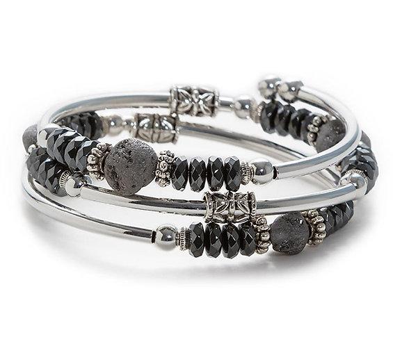 Silver Druzy Spiral Bracelet