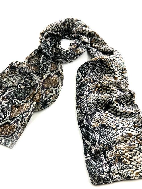 Snake Patterned Velvet Scarf