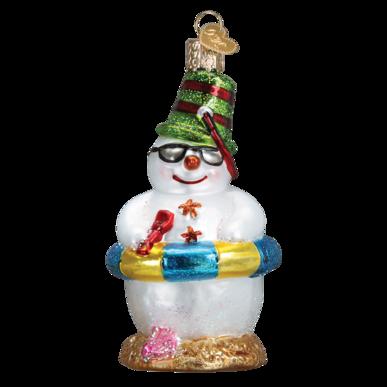 Snowman on Beach Ornament