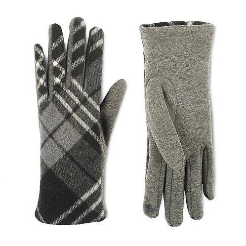 Grey Plaid Touchscreen Gloves